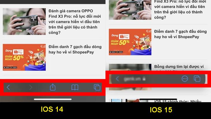 Safari trên iOS 15 được lượt bỏ các nút chức năng