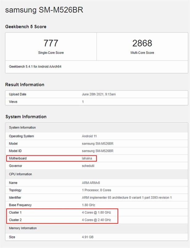 Galaxy M52 5G lộ cấu hình: Chạy Snapdragon 778G, màn hình 144Hz...