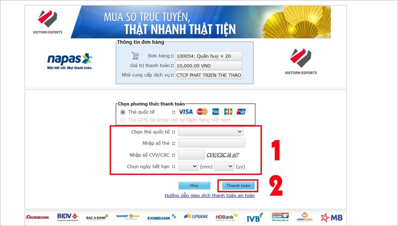 Chọn thẻ quốc tế và Nhập thông tin yêu cầu > Chọn Thanh toán.