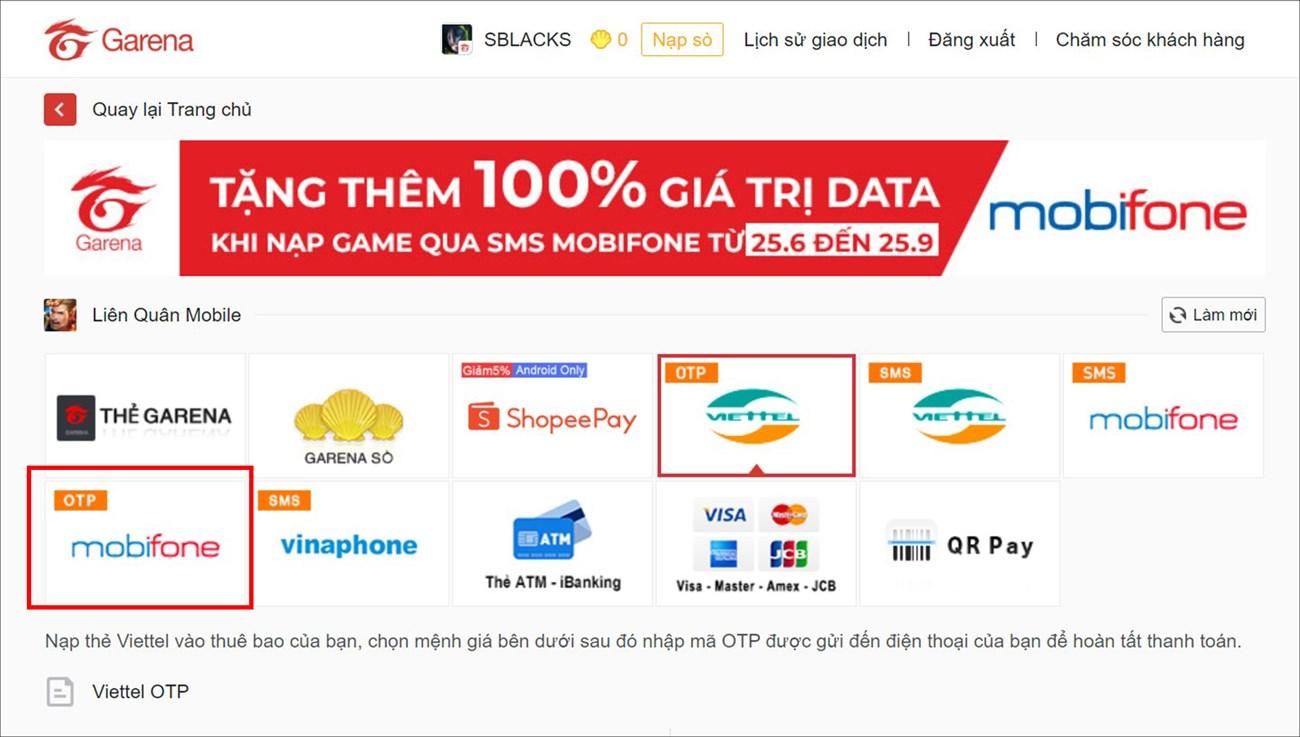 Chọn hình thức thanh toán qua OTP nhà mạng Viettel hoặc Mobifone mà bạn đang sử dụng