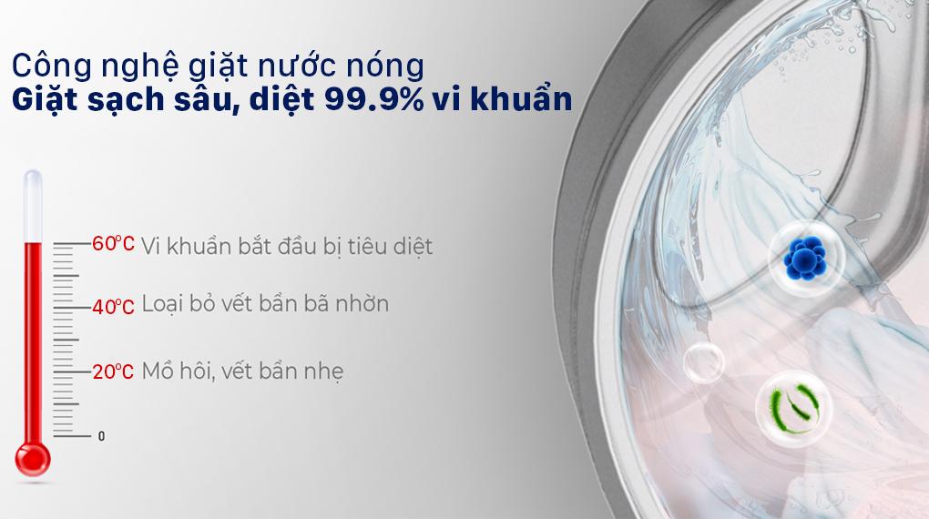 Diệt vi khuẩn 99% với công nghệ giặt nước nóng