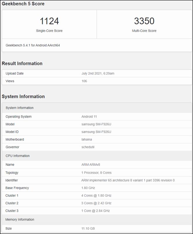 Samsung SM-F926U xuất hiện trên Geekbench được cho chính là tên mã của Galaxy Z Fold 3