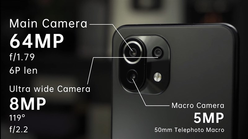 [captionnews]Hệ thống 3 camera trên Xiaomi Mi 11 Lite 5G. (Nguồn: Gizmochina).[/captionnews]