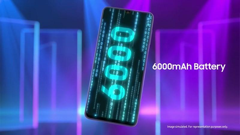 Samsung Galaxy F22 được trang bị viên pin 6.000 mAh