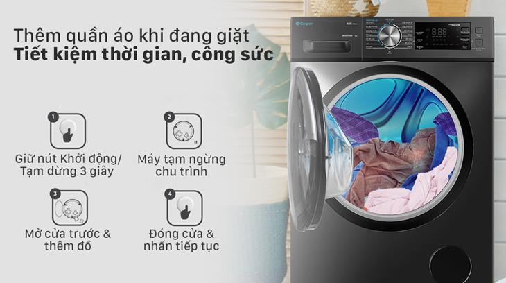 Máy giặt Casper trang bị chức năng thêm quần áo khi đang giặt