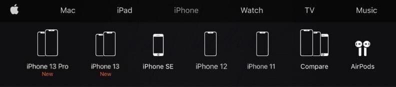 Tên gọi của iPhone 13 series được xác nhận trên website có giao diện giống với trang web chính hãng của Apple.
