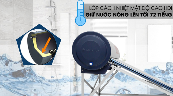 Máy năng lượng mặt trời Ariston Eco Tube ưng dụng lớp cách nhiệt mật độ cao HDI