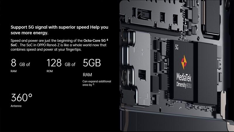 OPPO Reno6 Z 5G được trang bị công nghệ mở rộng RAM