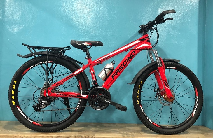 Xe đạp Fascino có yên xe bằng da, êm ái, không gây cảm giác đau mỏi cho người điều khiển