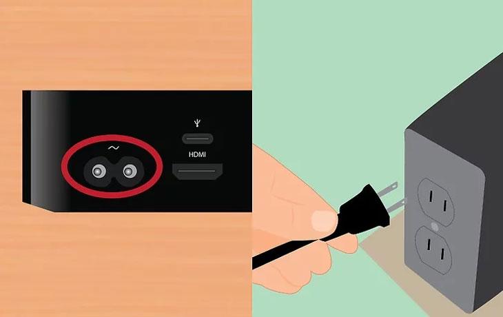 Cắm một đầu cáp điện vào Apple TV, đầu còn lại cắm vào nguồn điện