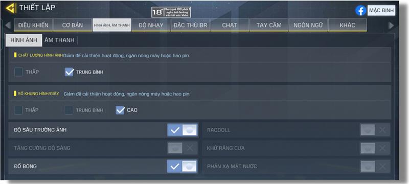 Thiết lập đồ họa trong Call of Duty Mobile mà Realme 8 5G có thể chỉnh được.