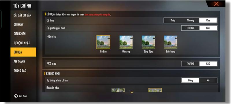 Thiết lập đồ họa trong Free Fire mà Realme 8 5G có thể chỉnh được.