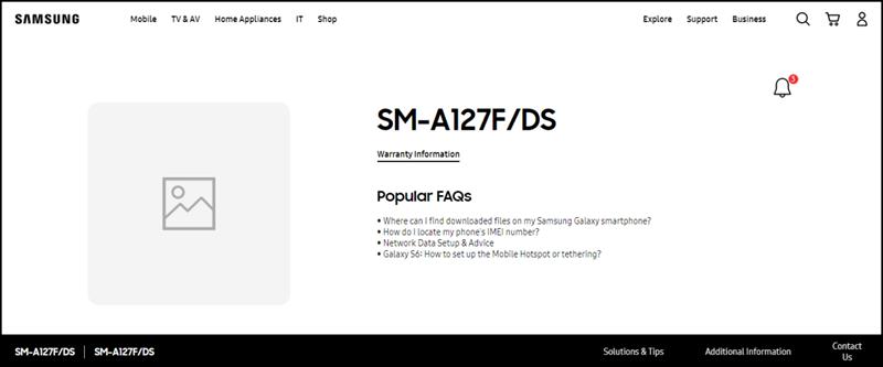 Galaxy A12 (SM-A127F) được liệt kê trên trang hỗ trợ của Samsung Philippines
