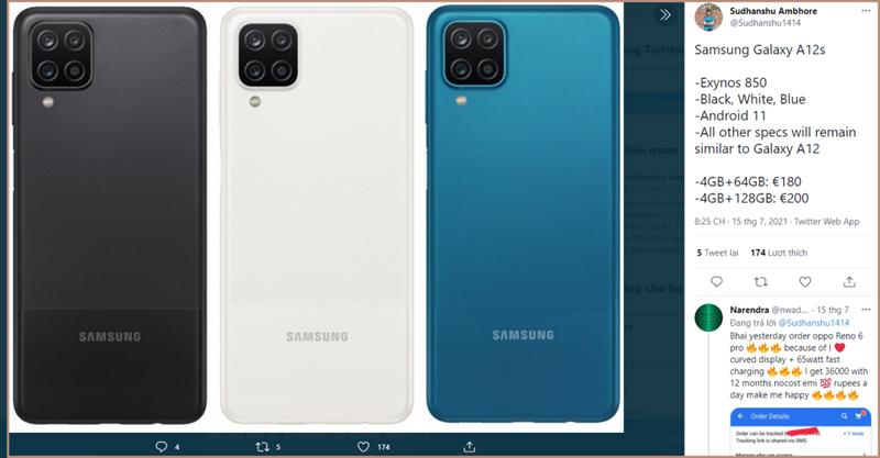 Leaker Sudhanshu Ambhore tiết lộ cấu hình, các phiên bản màu sắc và giá bán của Galaxy A12s