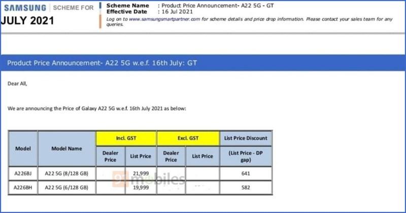 Galaxy A22 5G lộ giá bán ở Ấn Độ