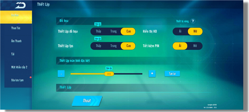 Thiết lập đồ họa trong Free Fire mà Galaxy A22 có thể chỉnh được.