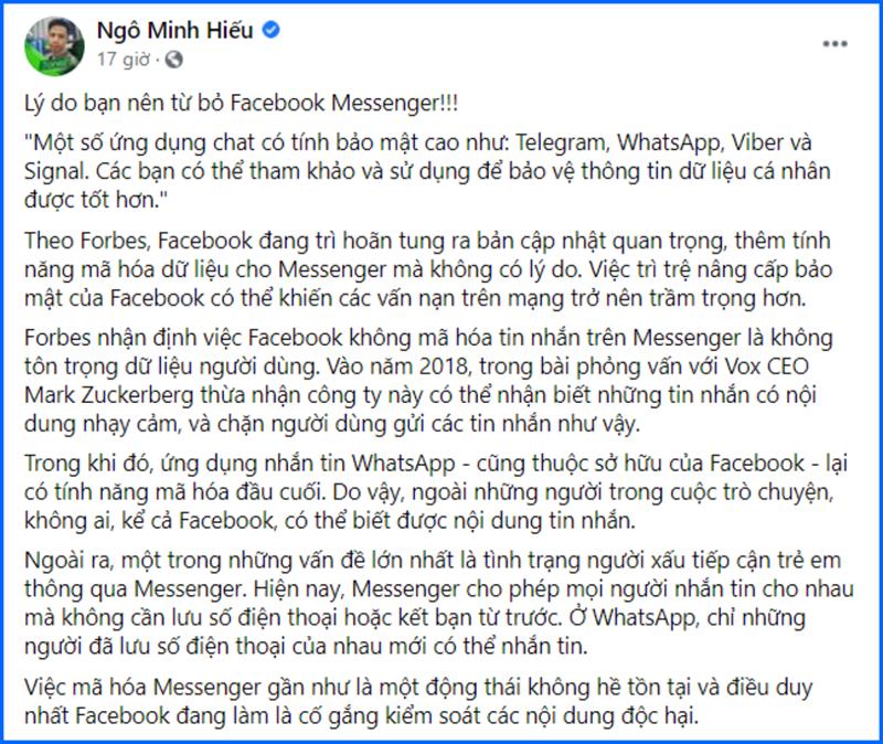 Hiếu PC khuyên cộng đồng mạng nên nghỉ xài Facebook Messenger