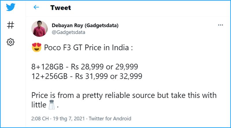 POCO F3 GT lộ giá bán