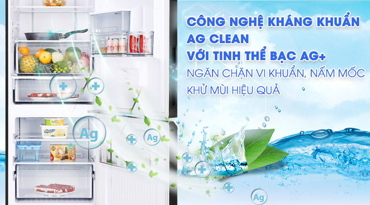 Loại bỏ 99,99%* vi khuẩn nhờ công nghệ kháng khuẩn Ag Clean với tinh thể bạc Ag+