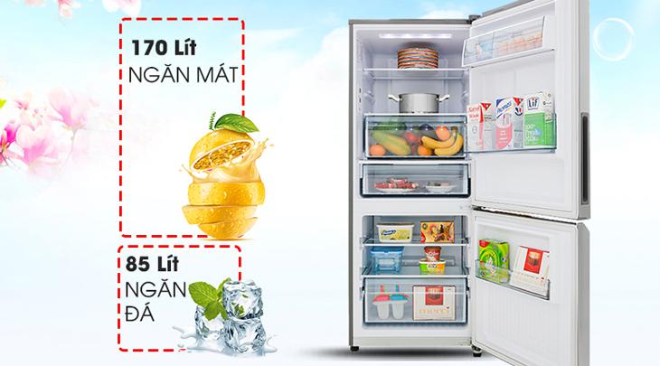 Tủ lạnh dung tích lớn giúp trữ nhiều thực phẩm tươi ngon