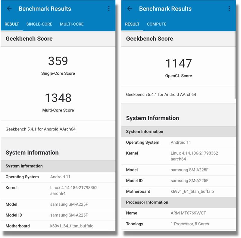 Điểm hiệu năng của Galaxy A22 được chấm bằng GeekBench 5 đơn nhân/đa nhân (bên trái) và đồ họa GPU (bên phải).