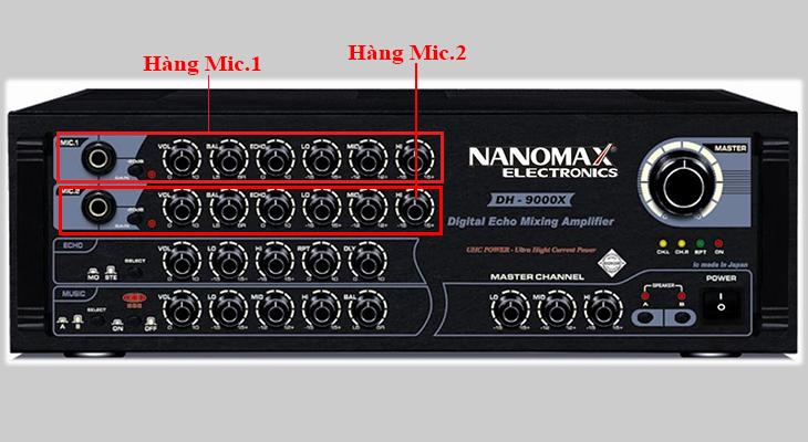 chức năng của nút điều khiển trên hàng mic.1 và mic.2