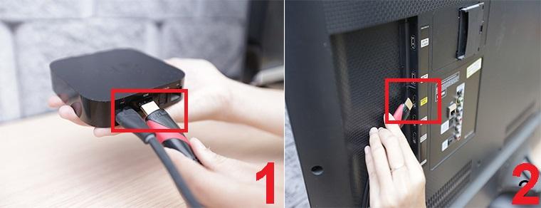 Cắm một đầu sợi cáp HDMI vào Apple TV, đầu còn lại cắm vào tivi