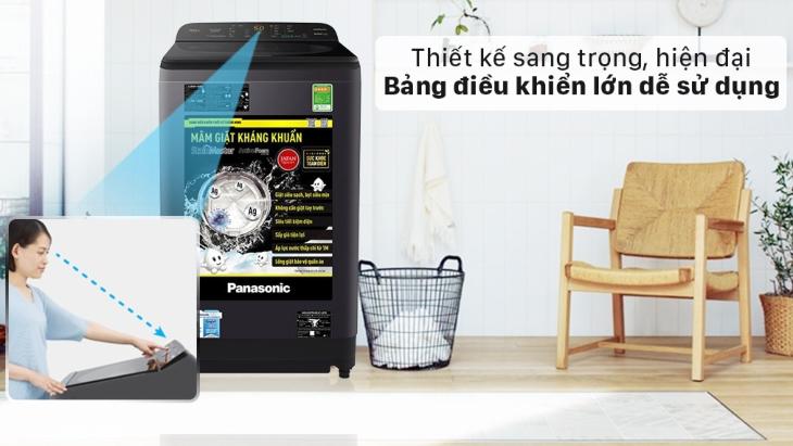 Dễ dàng sử dụng máy giặt Panasonic dòng NA-A9BRV với bảng điều khiển song ngữ Anh - Việt được đặt phía sau