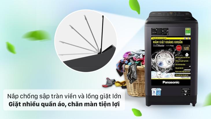 Nắp máy giặt Panasonic dòng NA-A9BRV được làm từ kính cường lực chắc chắn, có khả năng chống sập