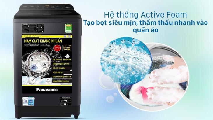 Máy giặt Panasonic dòng NA-A9BRV làm sạch sâu trong từng sợi vải với công nghệ Active Foam
