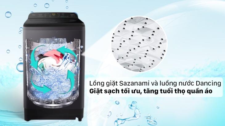 Lồng giặt Sazanami và luồng nước Dancing Water Flow trên máy giặt Panasonic dòng NA-A9BRV giúp giặt sạch đồng đều
