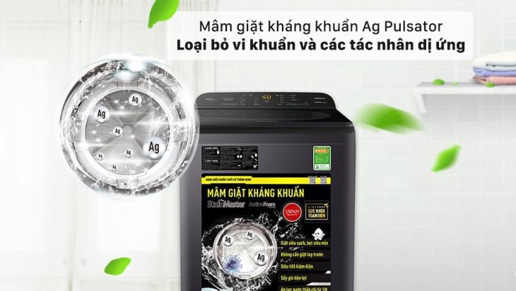 Mâm giặt tinh thể bạc Ag Pulsator và bộ lọc Big Ag Lint Filter trên máy giặt Panasonic dòng NA-A9BRV