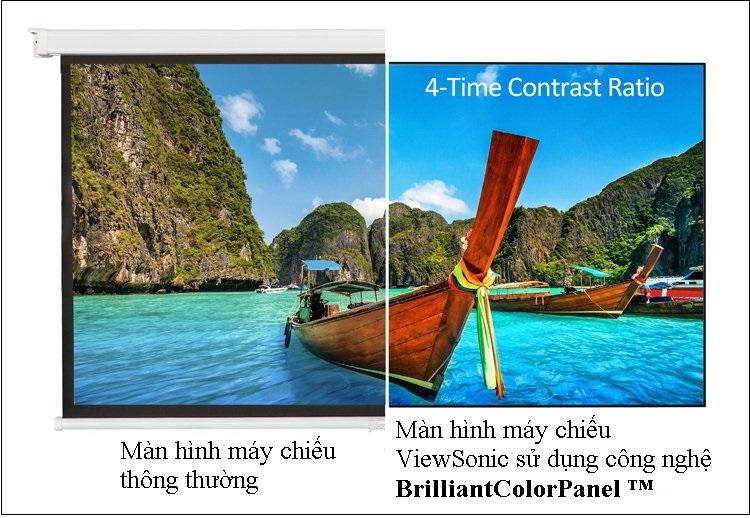 BrilliantColorPanel ™ giúp chiếc máy chiếu có khả năng tùy chọn tỷ lệ tương phản cao gấp 4 lần so với màn hình máy chiếu trung bình