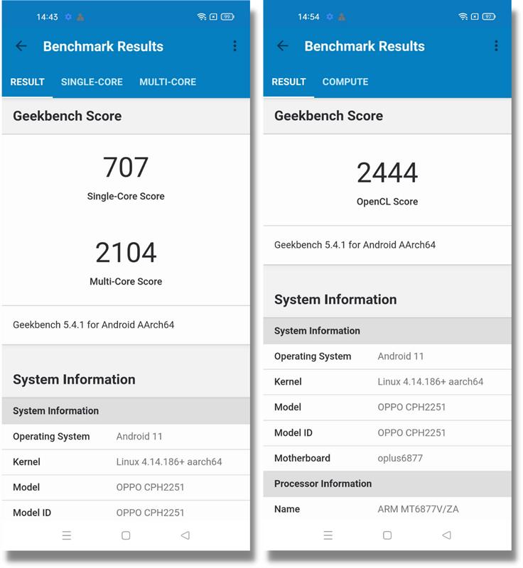 Điểm GeekBench 5 đơn nhân/đa nhân (bên phải) và GPU Compute (bên trái) của OPPO Reno6 5G.