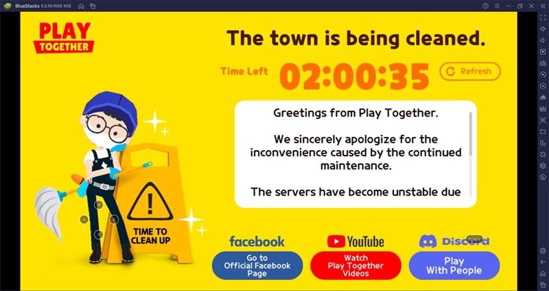 Play Together trên máy tính vẫn gặp lỗi hệ thống bảo trì liên tục.