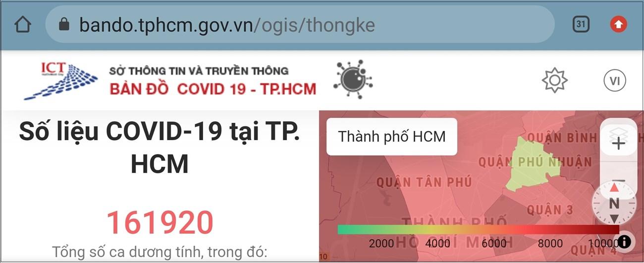 Để theo dõi vùng xanh, vùng đỏ COVID-19 tại TP. HCM, bạn xoay ngang điện thoại để xem bản đồ được hiển thị rõ ràng cho bạn.