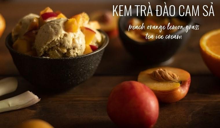 Cách làm kem trà đào cam sả thơm béo ngon miệng cực hấp dẫn tại nhà
