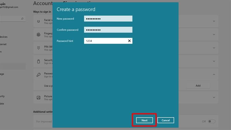 Đặt mật khẩu Windows 11