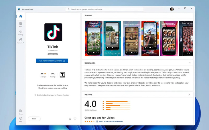 Hỗ trợ ứng dụng Android và Amazon App Store