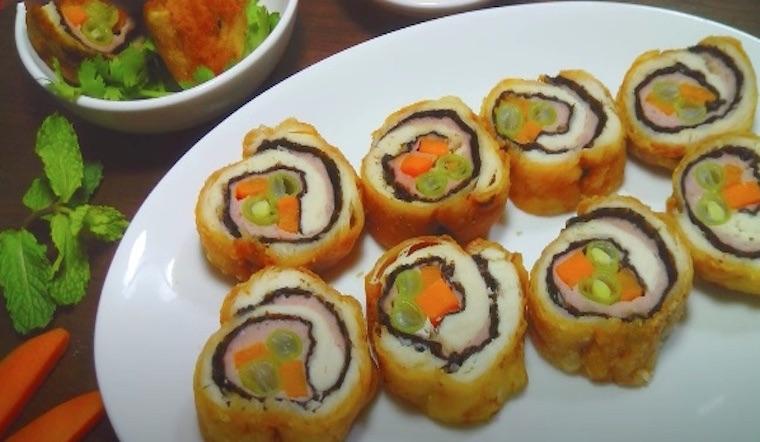 Cách làm món gà cuộn rong biển thơm ngon, giòn tan