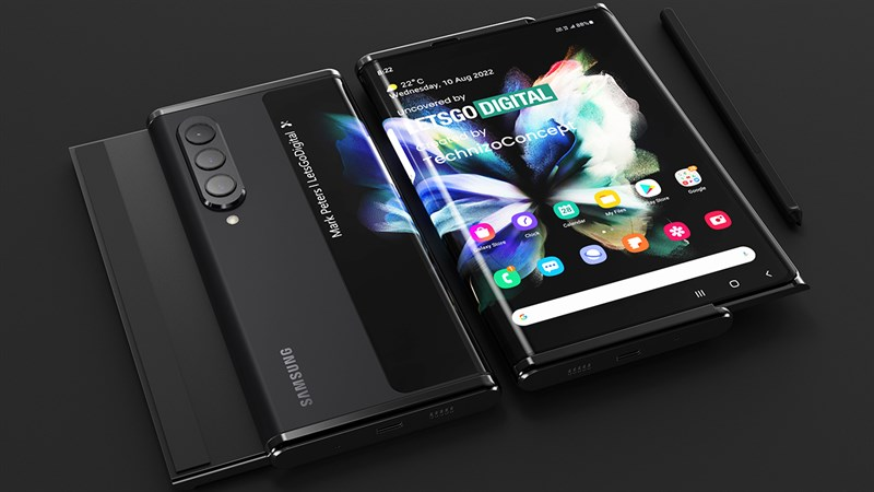Hình ảnh render về thiết kế của Galaxy Z Slide