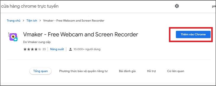 Cài đặt tiện ích Vmaker Chrome