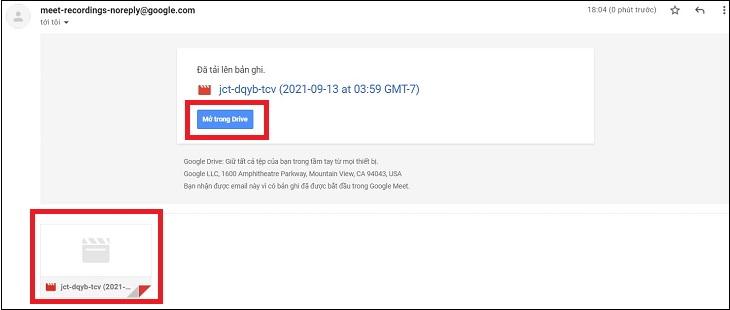 Kiểm tra email mà Google Meet đã gửi cho bạn