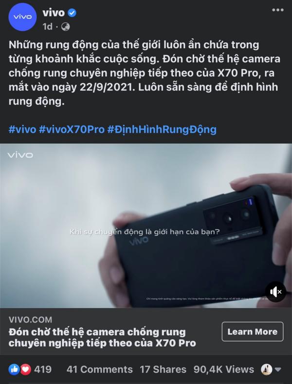 Vivo X70 Pro 5G chính thức được ấn định ngày ra mắt tại Việt Nam