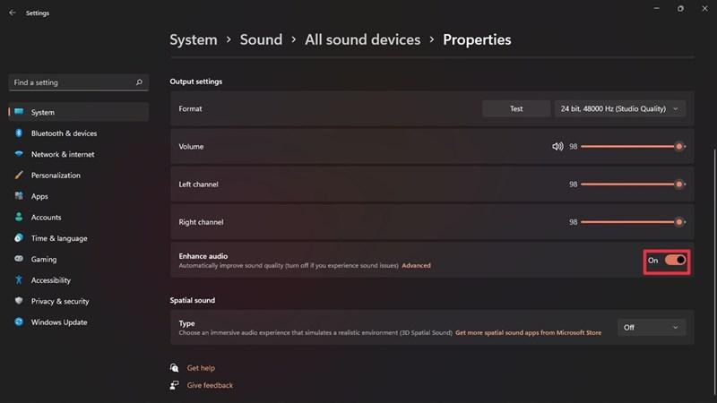 cách enhance audio trên Windows 11