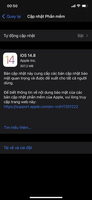 Apple bất ngờ tung phiên bản iOS 14.8 trước ngày ra mắt sản phẩm mới