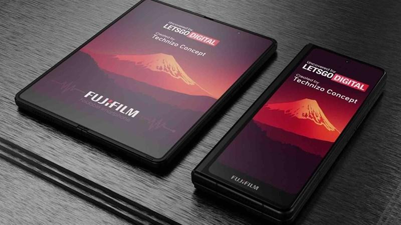 Lộ ảnh render điện thoại gập của Fujìilm với thiết kế giống...