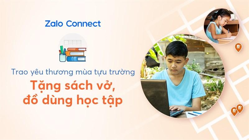 Cách yêu cầu nhận hỗ trợ đồ dùng học tập bằng Zalo Connect