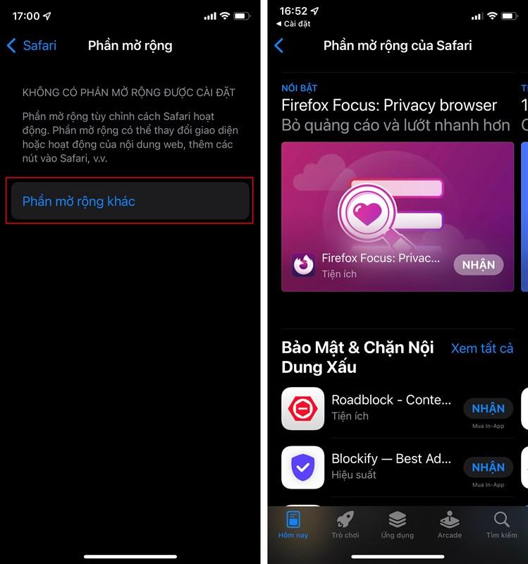 Cách thêm tiện ích mở rộng Safari iOS 15