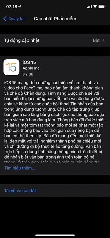 Bản cập nhật iOS 15 chính thức có dung lượng là 3.2 GB.
